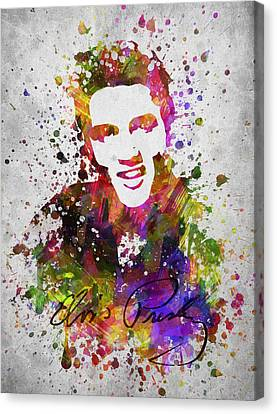 Famous Musician Canvas Print - Elvis Presley In Color by Aged Pixel