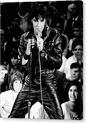 Hall Of Fame Canvas Print - Elvis Presley In Leather Suit by Retro Images Archive