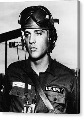 Elvis Presley In Military Uniform Canvas Print by Retro Images Archive