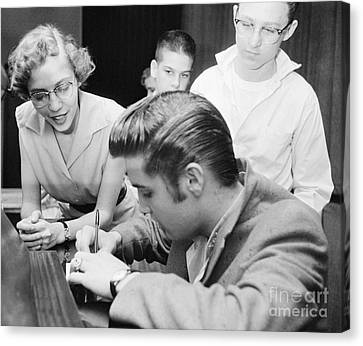 Elvis Presley Meeting Fans 1956 Canvas Print by The Harrington Collection