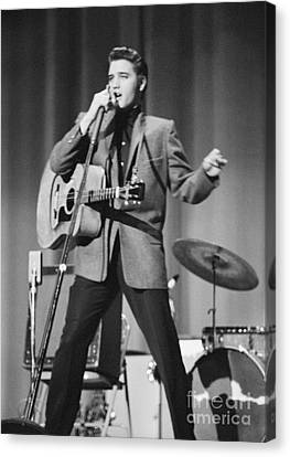 Elvis Presley On Stage 1956 Canvas Print by The Harrington Collection