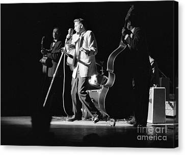 Elvis Presley On Stage With Scotty Moore And Bill Black 1956 Canvas Print by The Harrington Collection