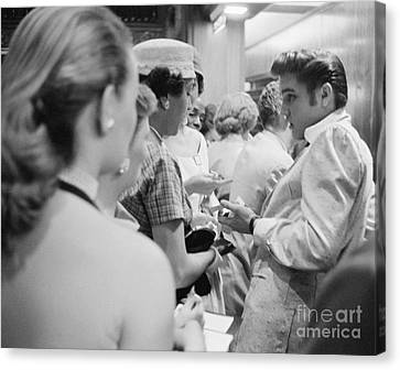 Elvis Presley Signing Autographs At The Fox Theater 1956 Canvas Print by The Harrington Collection