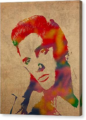 Portraits On Canvas Print - Elvis Presley Watercolor Portrait On Worn Distressed Canvas by Design Turnpike