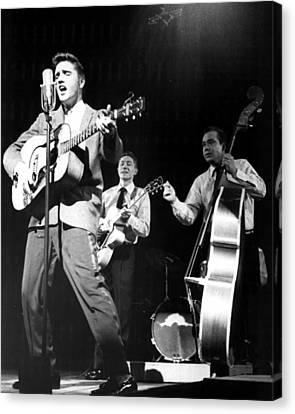 Elvis Presley With Band Canvas Print by Retro Images Archive