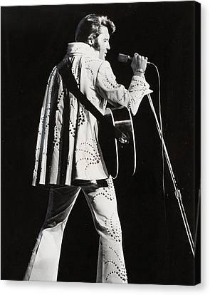 Elvis Presley At Mic Canvas Print by Retro Images Archive