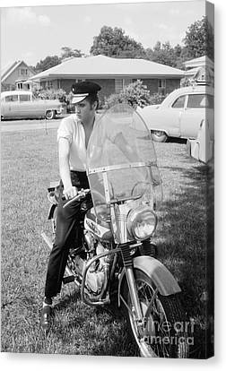 Elvis Presley With His 1956 Harley Kh And His Cadillacs Canvas Print