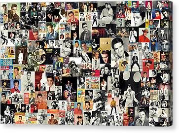 Mix Media Canvas Print - Elvis The King by Taylan Apukovska