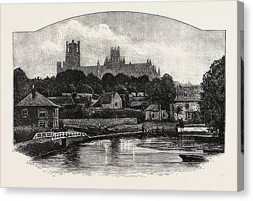 Ely Cathedral, From The River Canvas Print by English School