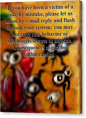 Beauty Mark Canvas Print - Embarrassing Consequences by Marcello Cicchini