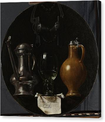 Emblematic Still Life With Flagon, Glass Canvas Print by Litz Collection