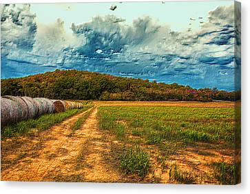 Embossed Autumn Field Canvas Print by Bill Tiepelman