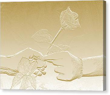 Embossed Gold Rose By Jan Marvin Studios Canvas Print