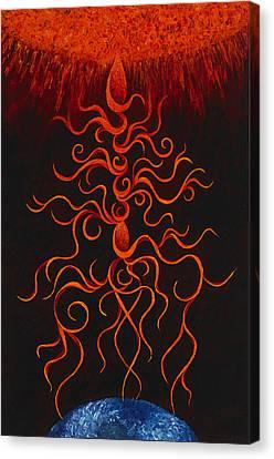 Solar Cosmos Embrace Canvas Print by Karen Balon