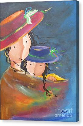 Canvas Print featuring the painting Embrace by Nereida Rodriguez