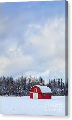 Maine Barns Canvas Print - Embrace The Cold by Evelina Kremsdorf