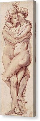Embracing Couple Canvas Print by Rubens