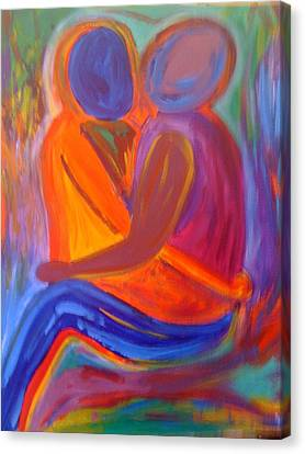 Canvas Print featuring the painting Embracing by Judi Goodwin