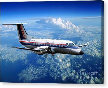 Fixed Wing Multi Engine Canvas Print - Embraer Emb-120er Braslia Skywest  by Wernher Krutein