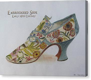 Embroidered Shoe - Early 18th Century Canvas Print by Mary Quarry