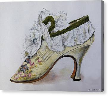 Embroidered Silk And Lace Shoe - 17th Century Canvas Print by Mary Quarry