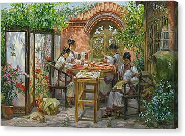 Embroideresses In Sichuan Province Canvas Print by Victoria Kharchenko