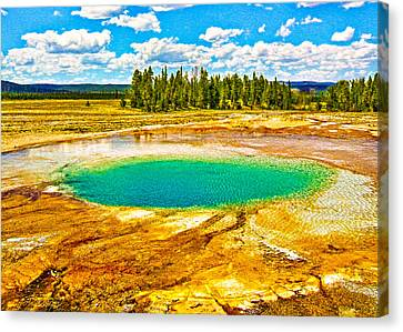 Emerald Thermal Pool Yellowstone National Park Canvas Print by Bob and Nadine Johnston