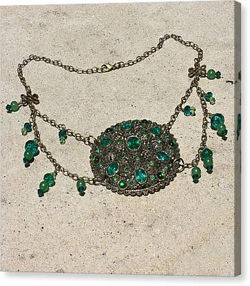 Emerald Vintage New England Glass Works Brooch Necklace 3632 Canvas Print by Teresa Mucha