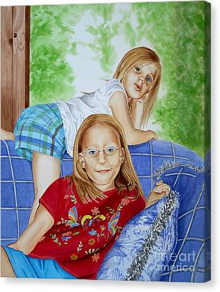 Emi And Mackenzie Canvas Print by Debbie Hart