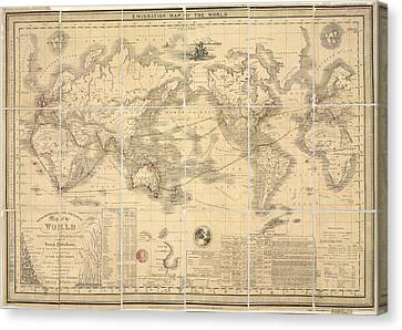 Emigration Map Of The World Canvas Print