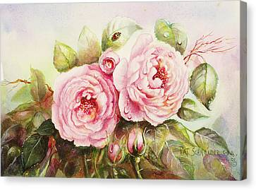 Canvas Print featuring the painting Emily English Roses by Patricia Schneider Mitchell