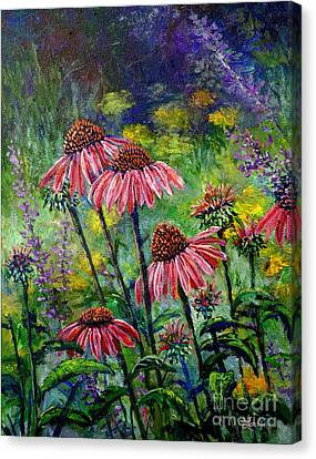 Canvas Print featuring the painting Emily's Flowers by Lou Ann Bagnall