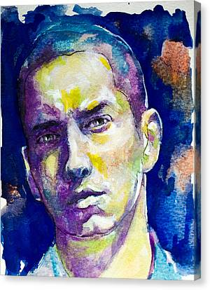 Canvas Print featuring the painting Eminem by Laur Iduc