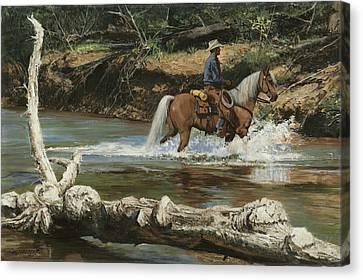 Trail Ride Canvas Print - Palomino Crossing Big Creek by Don  Langeneckert