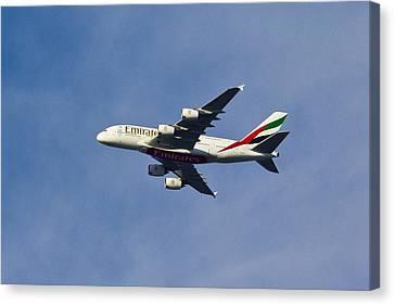 Traffic Control Canvas Print - Emirates A380 by David Pyatt