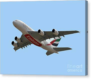 Emirates Airlines Airbus A380-861 Canvas Print by Graham Taylor