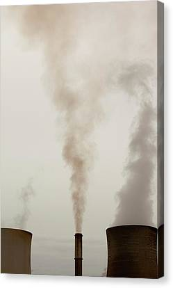 Emissions From A Coal Fired Power Station Canvas Print