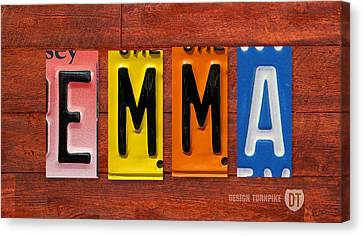 Emma License Plate Name Sign Fun Kid Room Decor Canvas Print by Design Turnpike