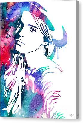 Emma Watson Canvas Print by Watercolor Girl