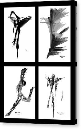 Emotions In Black - Abstract Quad Canvas Print by Rafael Salazar