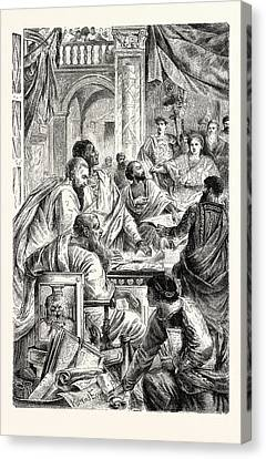 Emperor And Learned Men Of The Eastern Or Byzantine Empire Canvas Print by English School