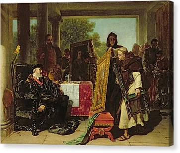 Emperor Charles V At The Convent Canvas Print by Alfred W. Elmore