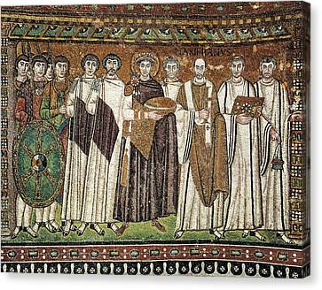 Emperor Justinian And His Court. Ca Canvas Print by Everett