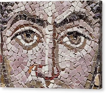 Emperor Justinian I 483-565 C.547 Ad Mosaic Detail Of 140283 Canvas Print