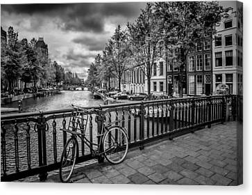 Bicycle Canvas Print - Emperor's Canal Amsterdam by Melanie Viola