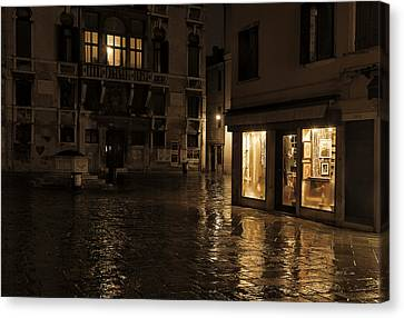 Winter's Night In Venice Canvas Print by Marion Galt
