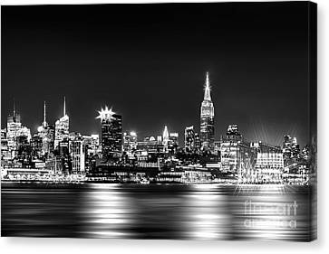 Downtown Canvas Print - Empire State At Night - Bw by Az Jackson