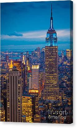 Times Square Canvas Print - Empire State Blue Night by Inge Johnsson