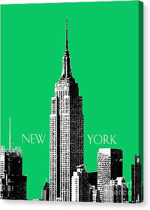 Empire State Building - Green Canvas Print by DB Artist