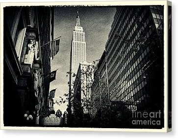 Empire State Building And Macys In New York City Canvas Print by Sabine Jacobs